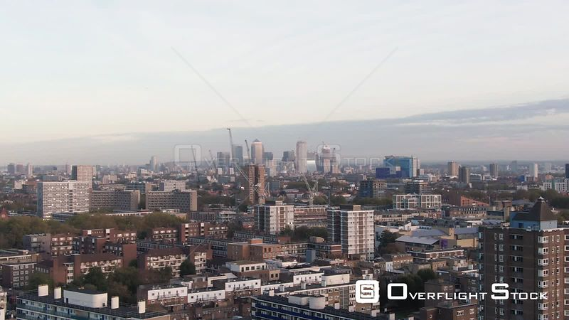 Aerial ascending view of the skyline of financial district of the Docklands in London