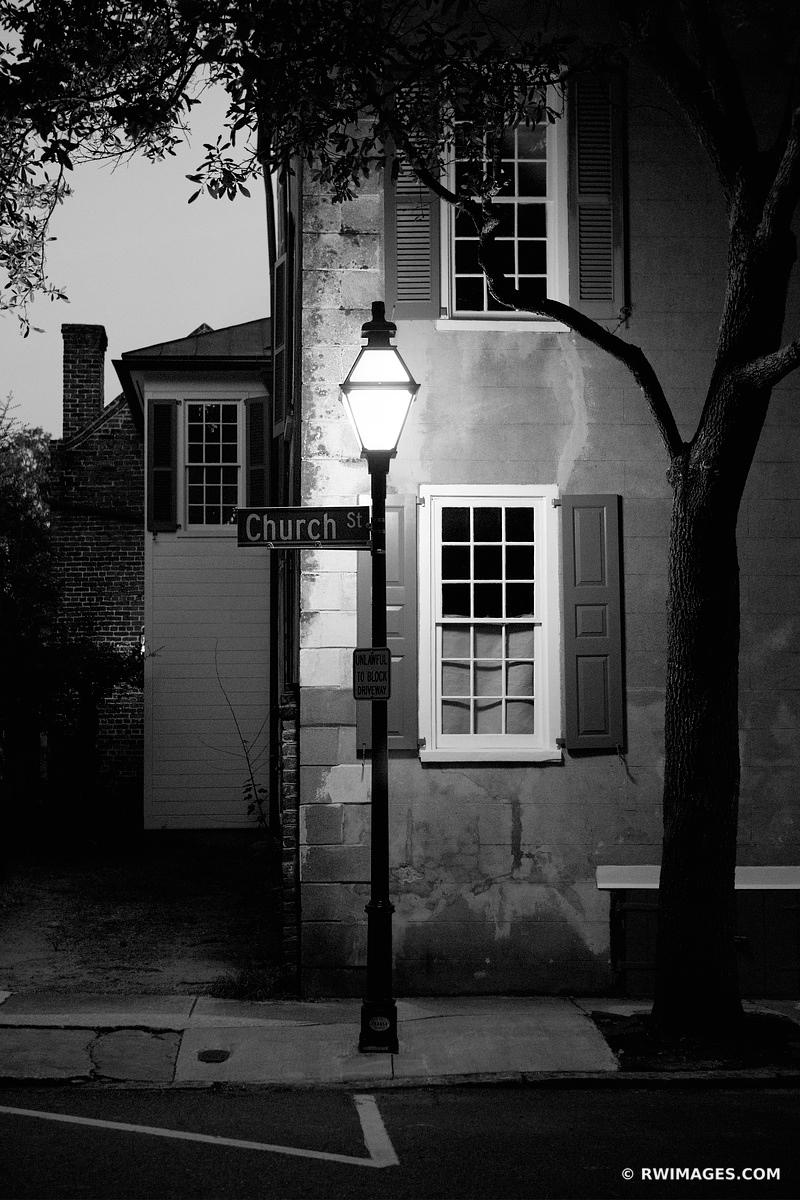 CHURCH STREET CHARLESTON SOUTH CAROLINA BLACK AND WHITE VERTICAL