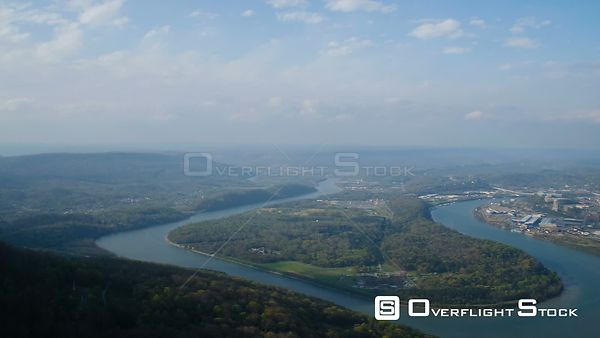 Chattanooga Tennessee Flying over Lookout Mt panning with full city view.