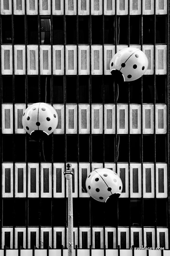 RED LADYBUGS PUBLIC ART DOWNTOWN MILWAUKEE WISCONSIN BLACK AND WHITE