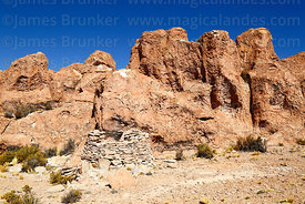 Pre Columbian qullqa / qollca or storehouse among Llajtaq`Aqa rock formations near site of Puca Pucara, near Villa Mar, Nor L...
