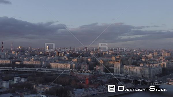 Sunset Forward Flying Over Moscow Cityscape. Moscow Russia Drone Video View