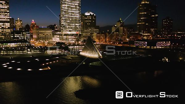 Downtown Milwaukee Wisconsin at Night Drone Video