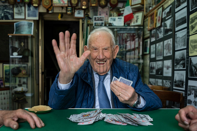 "Portrait of Salvatore Playing Cards at the ""Associazione Nazionale Mutilati ed Invalidi di Guerra"""