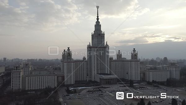 Circle Flight Near Moscow State University, Mild Sunset. Moscow Russia Drone Video View