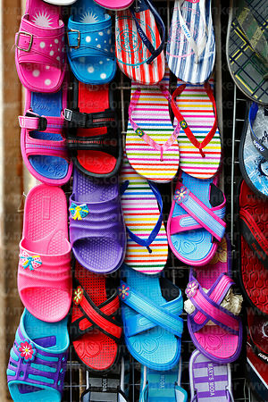 Detail of flip-flops for sale, Cusco, Peru