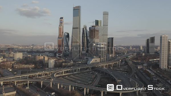 Early Sunset Flight from the Moscow With Business City Center and Spaghetti Junction. Moscow Russia Drone Video View