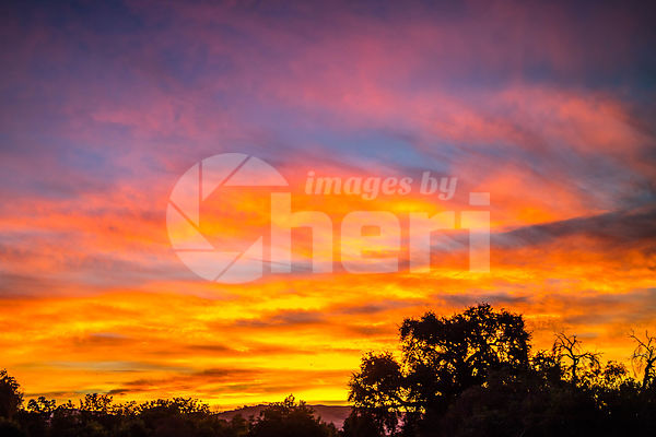 Dramatic vibrant sunset scenery in Paicines-San Benito, California