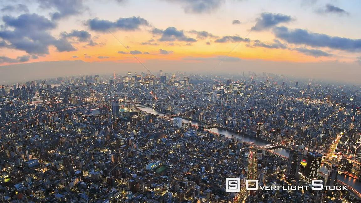 Tokyo  Japan Zooming Tokyo cityscape time lapse just after sunset.