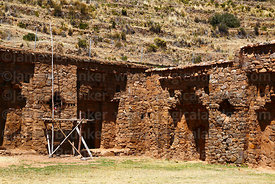 Corner of south (L) and west (R) walls of Inca temple of Iñak Uyu, Moon Island, Lake Titicaca, Bolivia