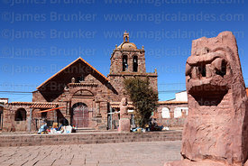Statue of puma in main square and San Pedro church, Tiwanaku, La Paz Department, Bolivia