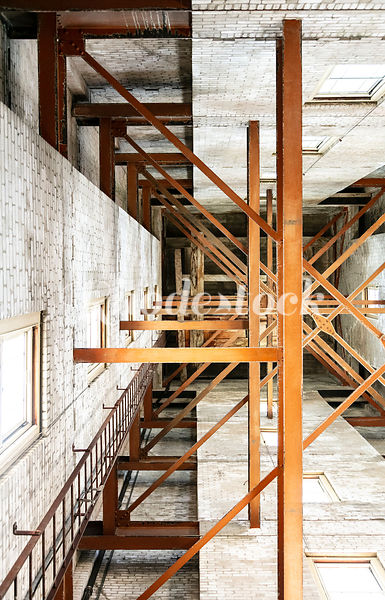 Upward View of Wooden Rafters Inside Tower of Pawtucket City Hall