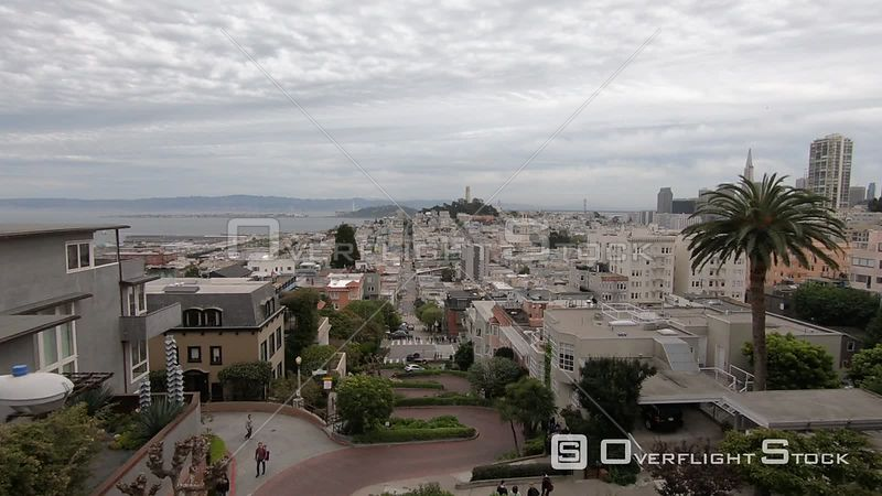 Drone Video Lombard Street San Francisco California