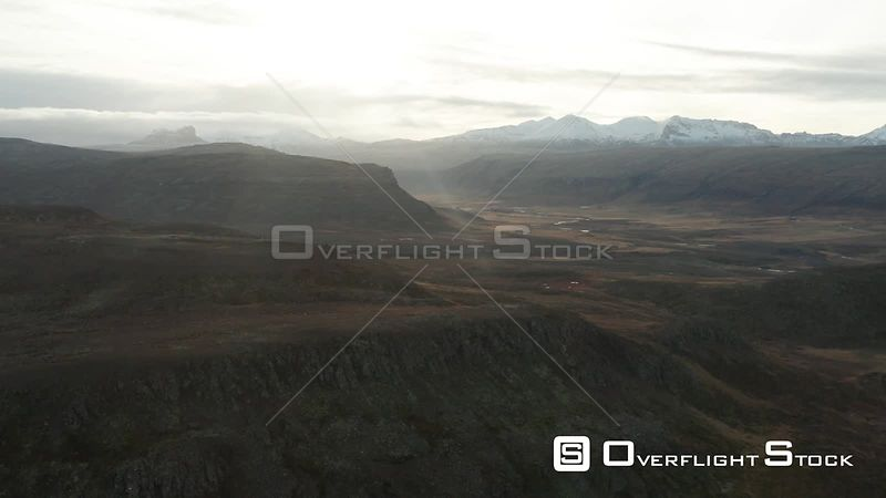 Flying up and Over Mountains in Iceland.