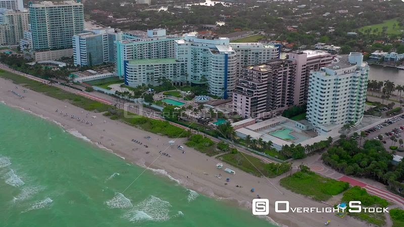 Aerial Miami beachfront condominiums Atlantic Ocean coastline
