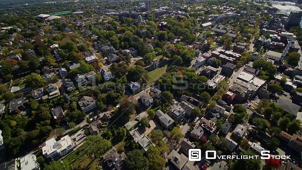 Providence Rhode Island Panning birdseye to panoramic cityscape from College Hill area