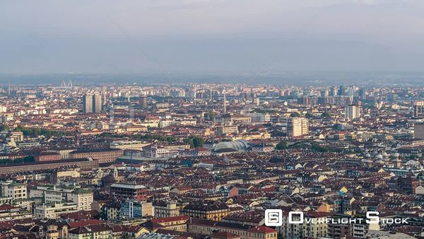 Day City View of Old Turin Italy Drone View