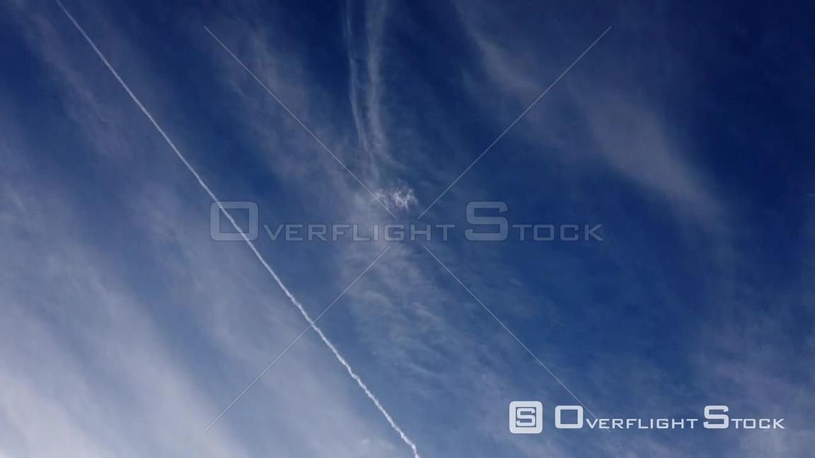 TimeLapse of Blue Sky with Cirrus Clouds and Jet Contrails