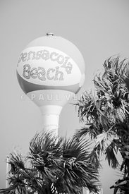 Water Tower Beach Ball Pensacola Black and White Photo