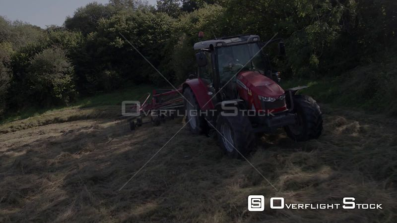 Baling Hay at Harvest Time on the Farm in North Wales