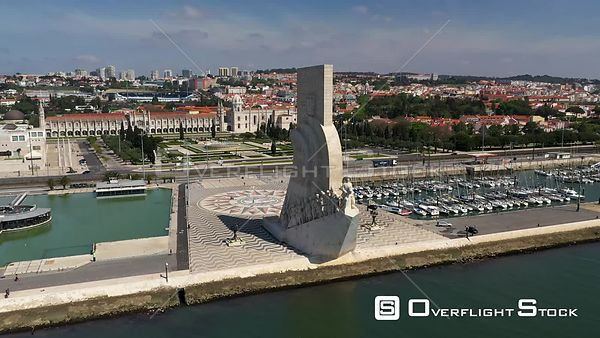 Aerial tracking Monument to the Discoveries, in Belém, Lisbon, empty streets During Covid-19 Pandemic Portugal