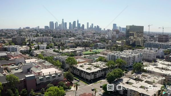 Los Angeles Suburbs Looking Towards Downtown LA California Drone View