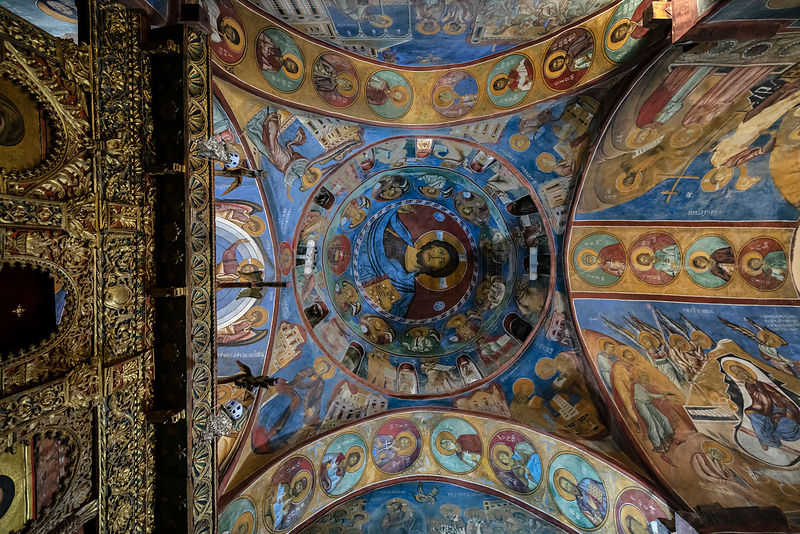 Looking up into the Dome in the Interior of Panagia Tou Araka