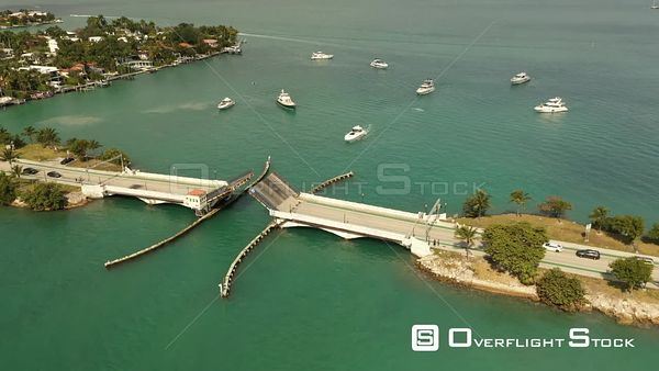 Aerial Video Yachts Passing Under an Open Drawbridge