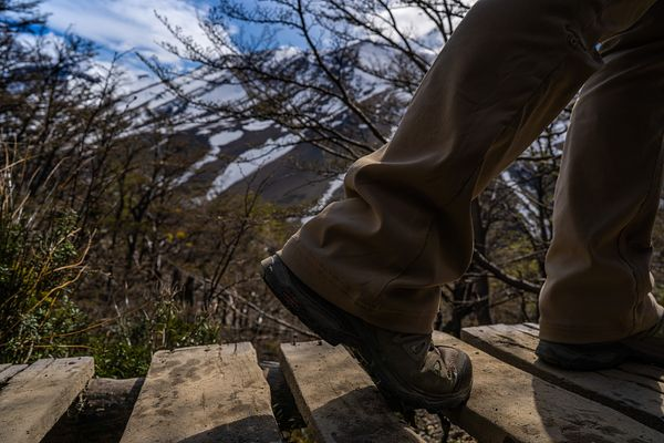 Close up of hiker's feet on wooden bridge, Torres del Paine National Park, Last Hope Province, Magallanes Region, Chile, Sout...