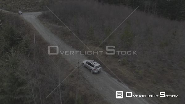 British Columbia SUV Tracking on Dirt Logging Road Canada