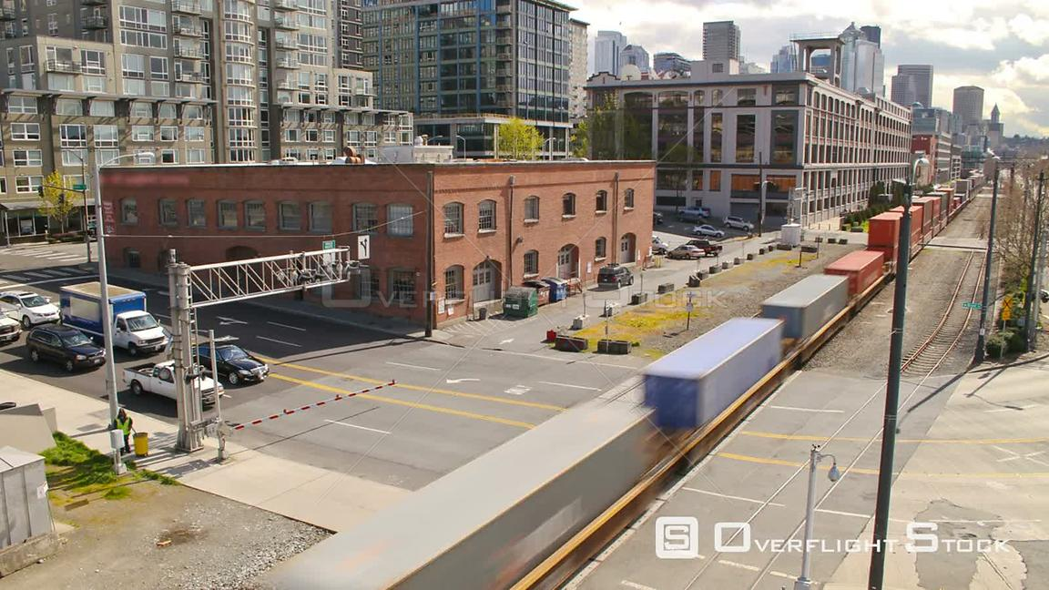Seattle Washington State USA Time lapse clip of Seattle waterfront area with train going by.