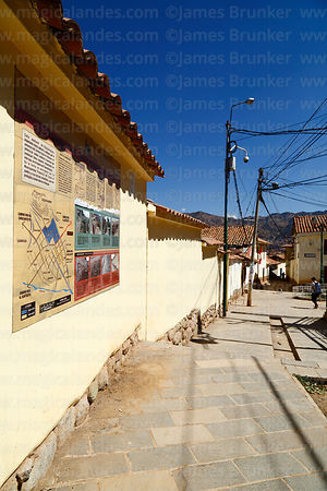 Information sign and restored section of Qhapaq Ñan at Paqlachapata, the start of the former Inca road to Antisuyu, Cusco, Peru