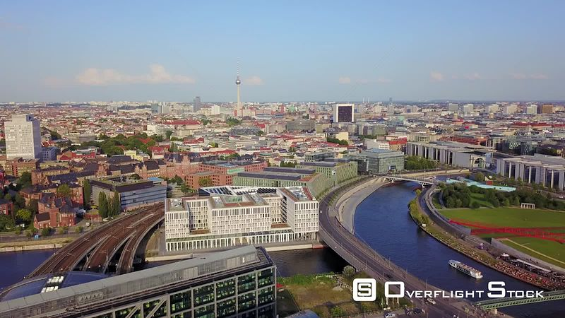 Germany Berlin Aerial Flying low around Central Station area with cityscape views