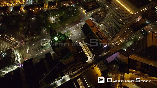 Providence Rhode Island Panning birdseye to vertical to rotating birdseye over downtown nighttime cityscape