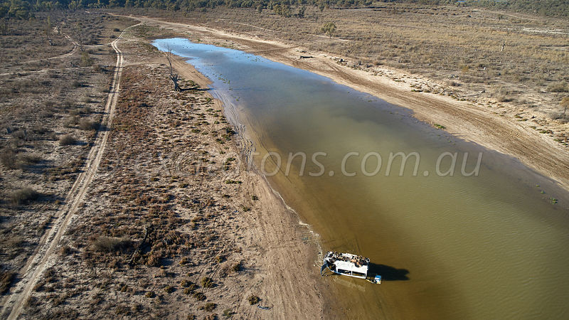 Destroyed vehicle dumped in Catfish Billabong, Merbein, Australia
