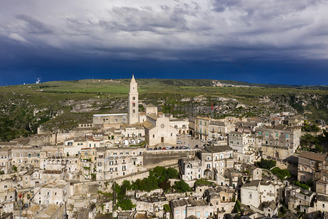 Aerial View of Matera with Storm Clouds in the Background