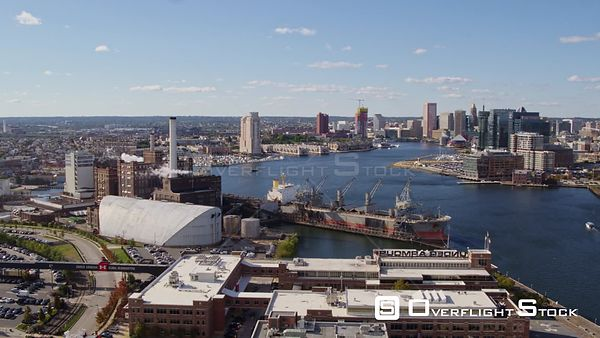 Baltimore Maryland Aerial Panning around Tide Point industry with corporate headquarter detail