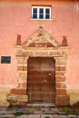 Carved stone portal of House of the Cacique Evaristo Siñani, Carabuco, La Paz Department, Bolivia