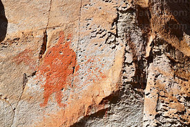 Detail of rock painting of human figure at Jawincha, near San Pedro de Quemes, Potosí Department, Bolivia