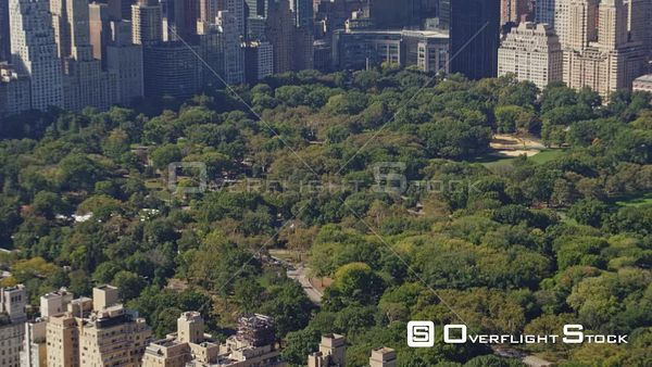 NYC New York Central Park West skyline to panning birdseye of Central Park and Upper East Side