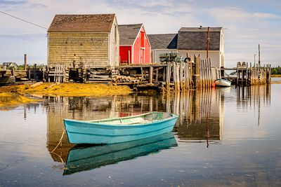 Old Boathouses at Blue Rocks, Nova Scotia.