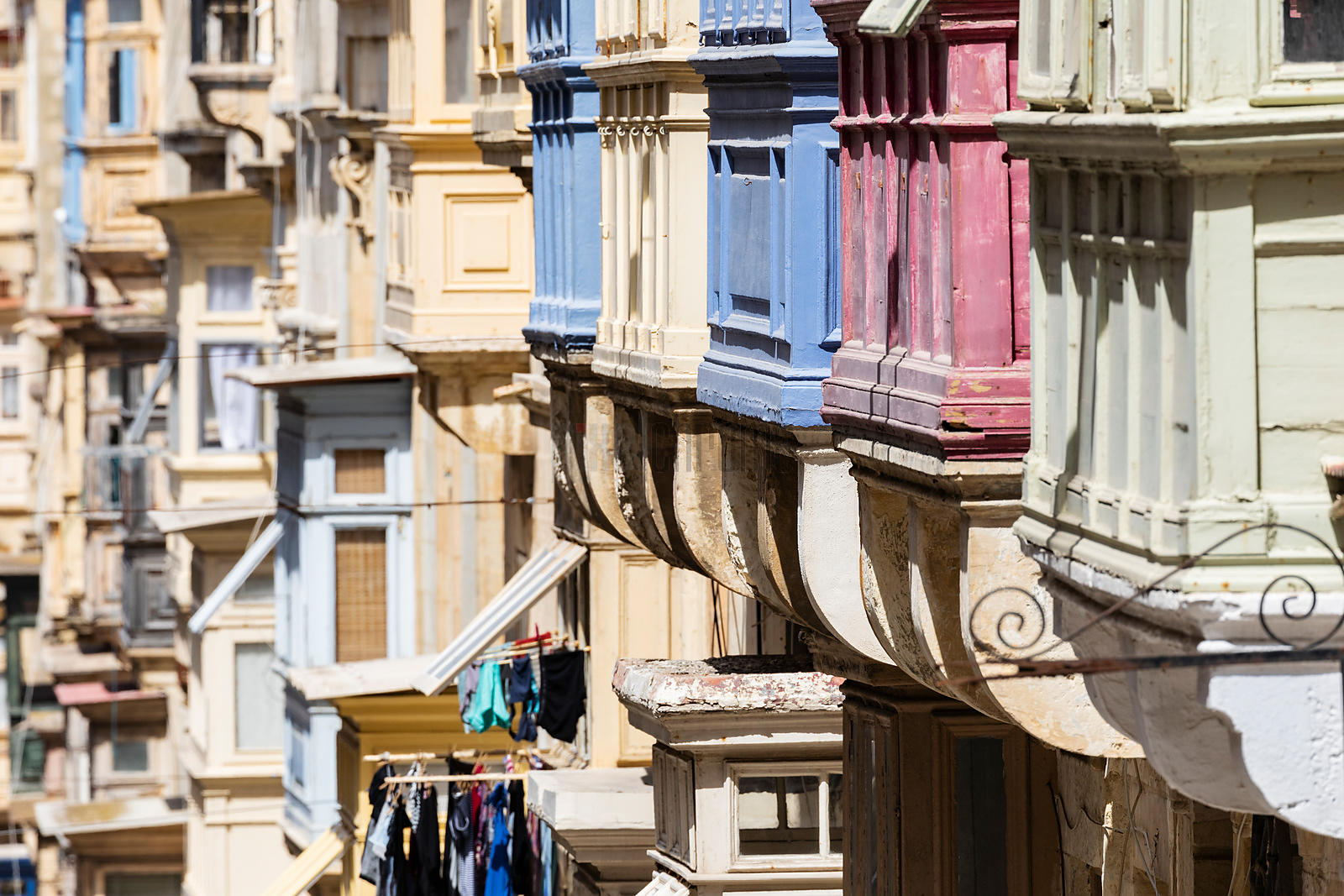 Houses and Maltese Balconies on Republic Street in Old Valletta