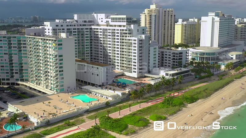 Motion video Miami Beach condominiums aerial drone 4k
