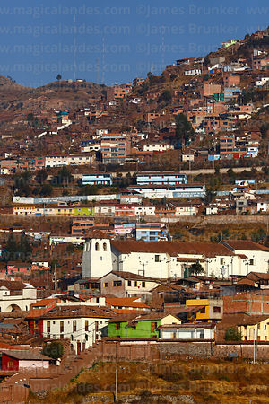 View across city to Santa Ana church, Cusco, Peru