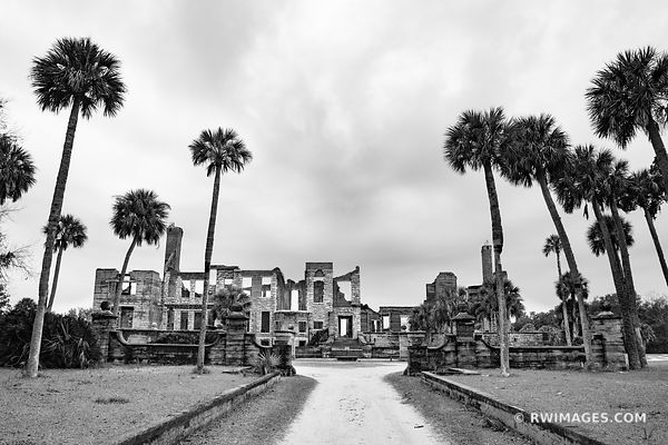 DUNGENESS RUINS CUMBERLAND ISLAND GEORGIA BLACK AND WHITE