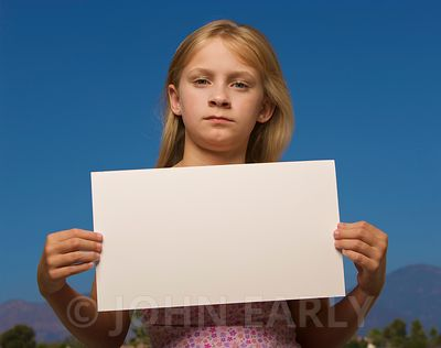 Yound girl holding blank sign, vareity of facial expressions