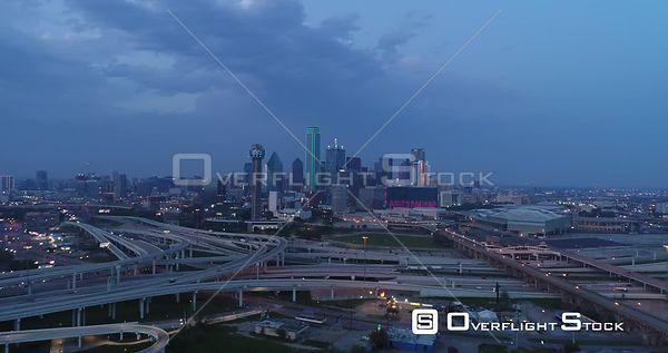 Drone Video Dallas Texas During COVID-19 Lockdown. Warning Sign.