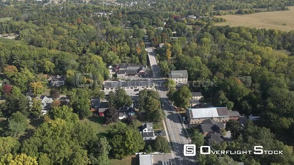 Tracking a Car Village of Honeoye Falls New York Drone View