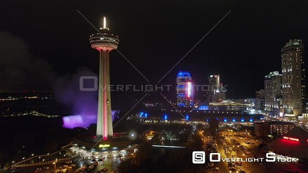 Niagara Falls Ontario Low vantage nighttime panoramic cityscape near Horseshoe Falls and Skylon Tower