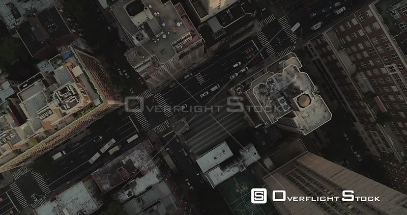 Aerial View Looking Straight Down on Manhattan Streets New York City